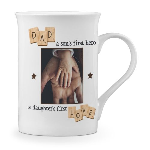 Personalised Dad, A Son's First Hero, A Daughter's First Love Novelty Gift Fine Bone China Mug